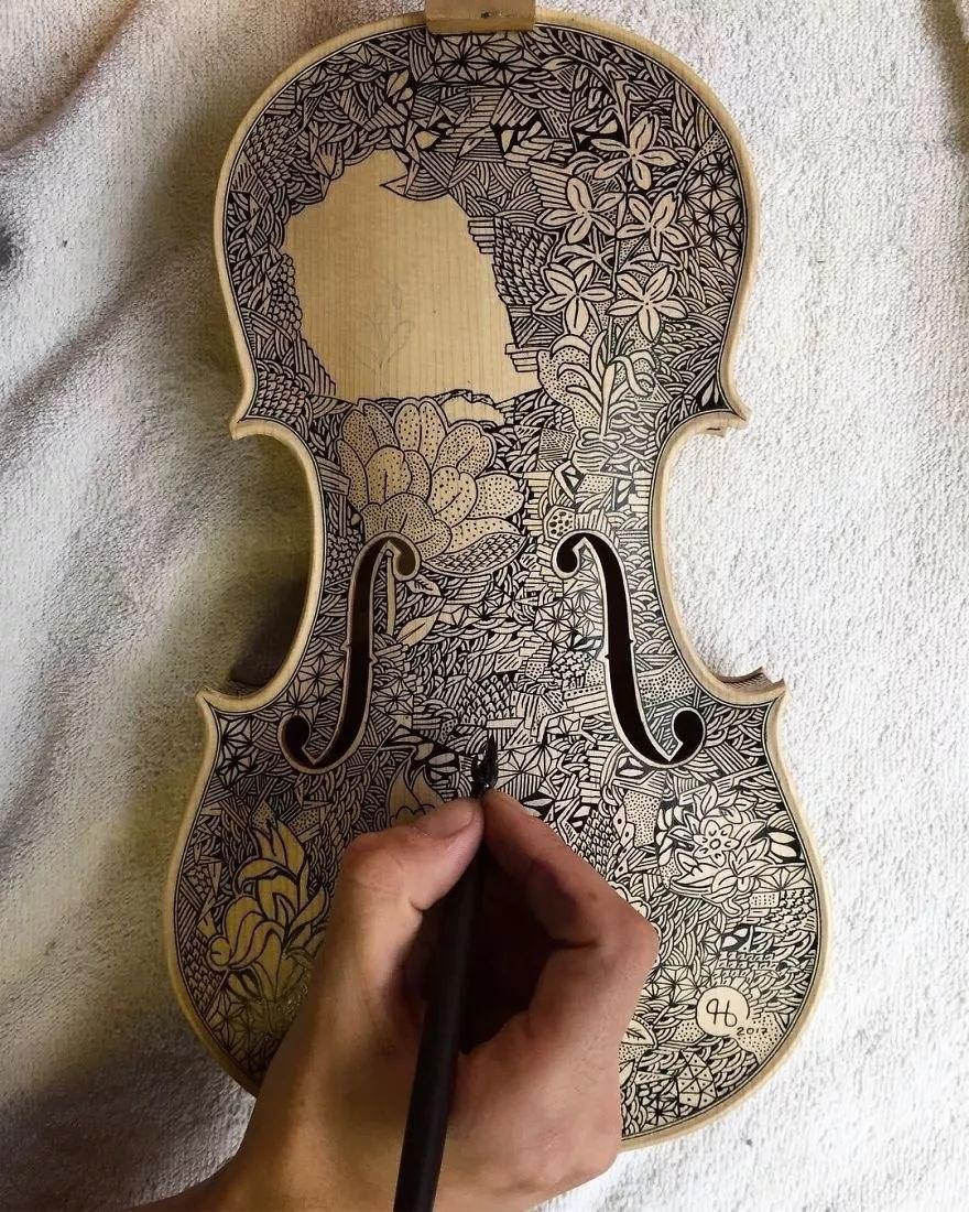 英国艺术家_Leonardo Frigo_画笔下的提琴插图(15)