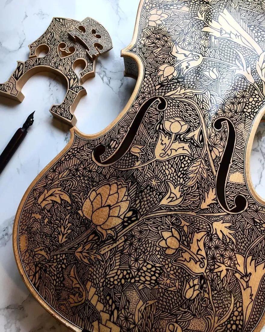 英国艺术家_Leonardo Frigo_画笔下的提琴插图(18)