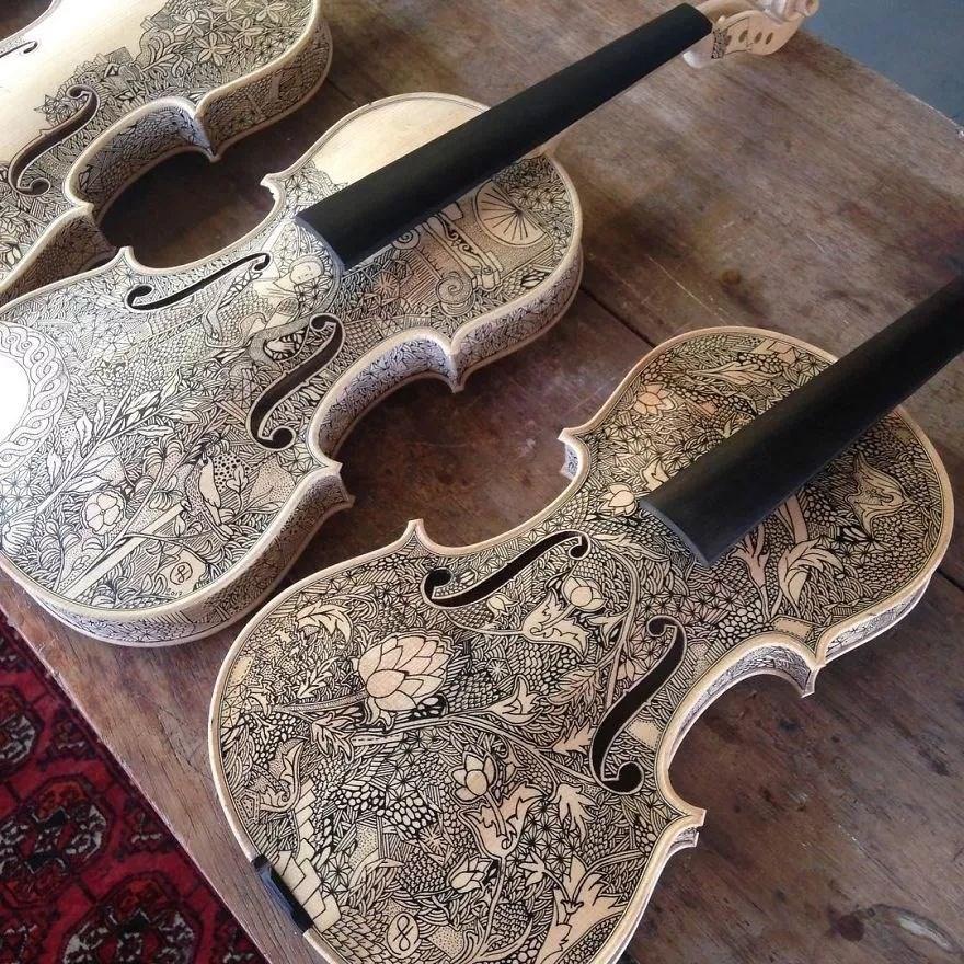 英国艺术家_Leonardo Frigo_画笔下的提琴插图(9)