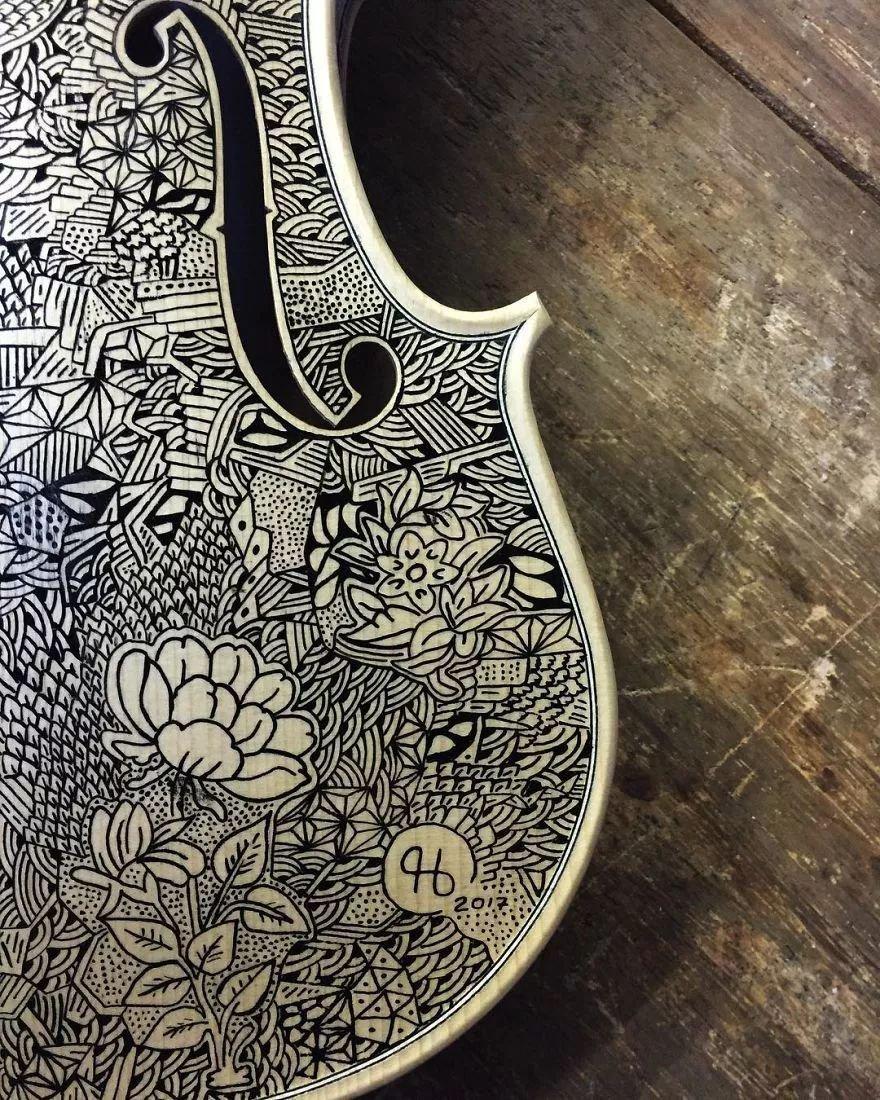 英国艺术家_Leonardo Frigo_画笔下的提琴插图(7)