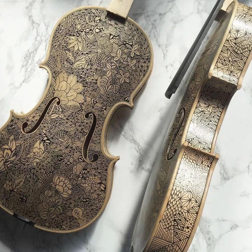 英国艺术家_Leonardo Frigo_画笔下的提琴插图(16)
