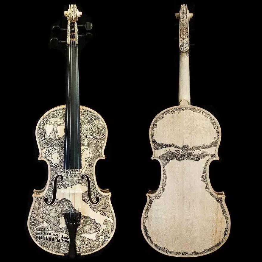 英国艺术家_Leonardo Frigo_画笔下的提琴插图(10)
