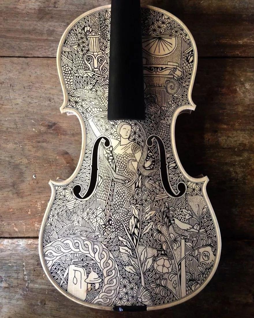 英国艺术家_Leonardo Frigo_画笔下的提琴插图(5)