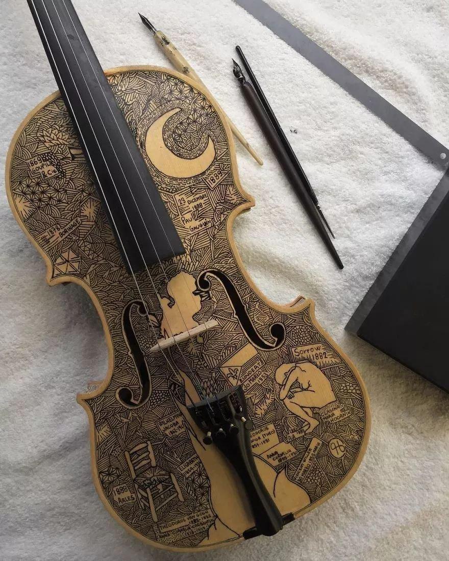 英国艺术家_Leonardo Frigo_画笔下的提琴插图(11)
