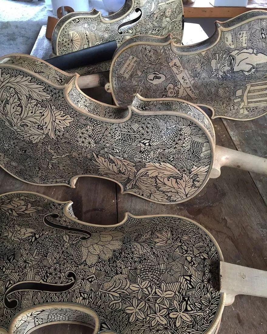 英国艺术家_Leonardo Frigo_画笔下的提琴插图(17)