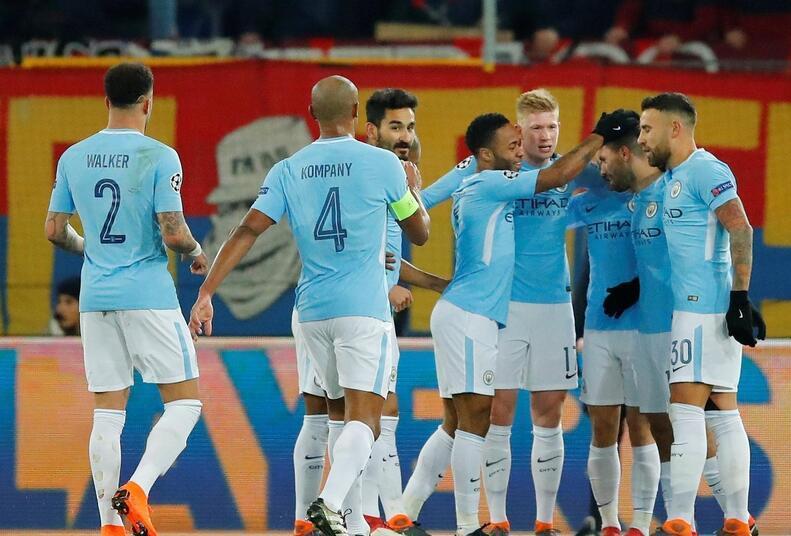 欧冠-京多安梅开二度阿圭罗传射 曼城4-0占先机