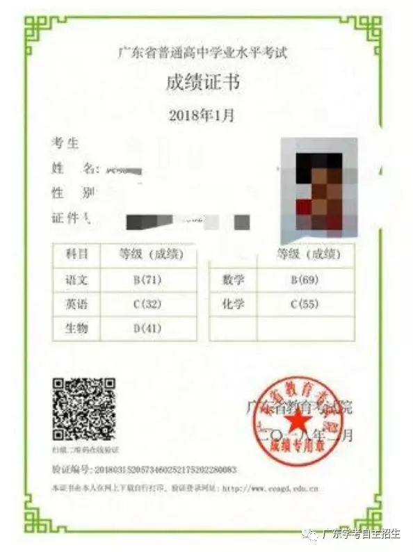 广东2018年1月学考成绩证书可以打印了,然而今年没有分数排名