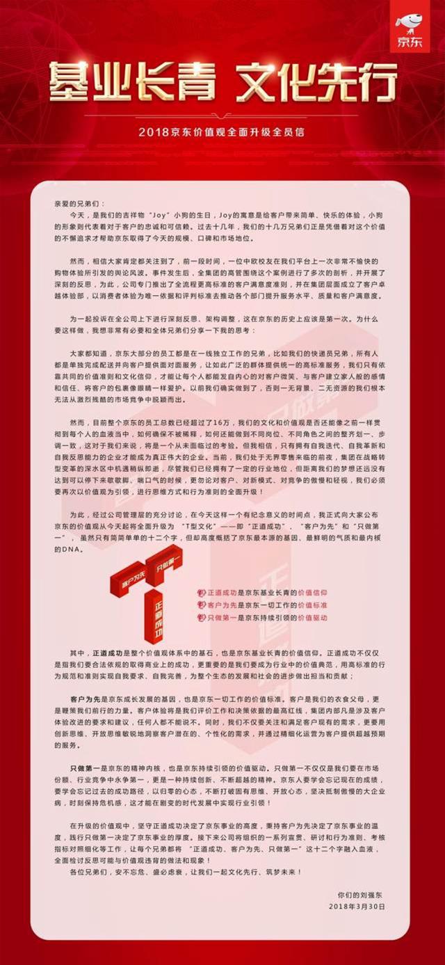 刘强东发布全员信:价值观升级 以消费者体验为主的照片 - 2