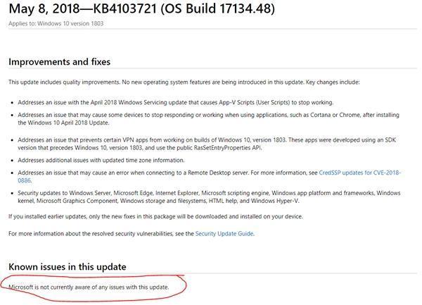 用户反馈Win10 17134.48更新将电脑变砖的照片 - 3