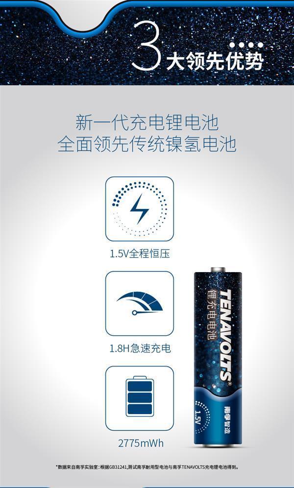 取代镍氢 南孚发布颠覆级5号充电锂电池:69元的照片 - 2