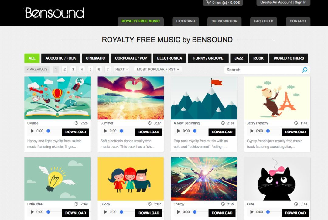 Bensound 无版权的音频网站