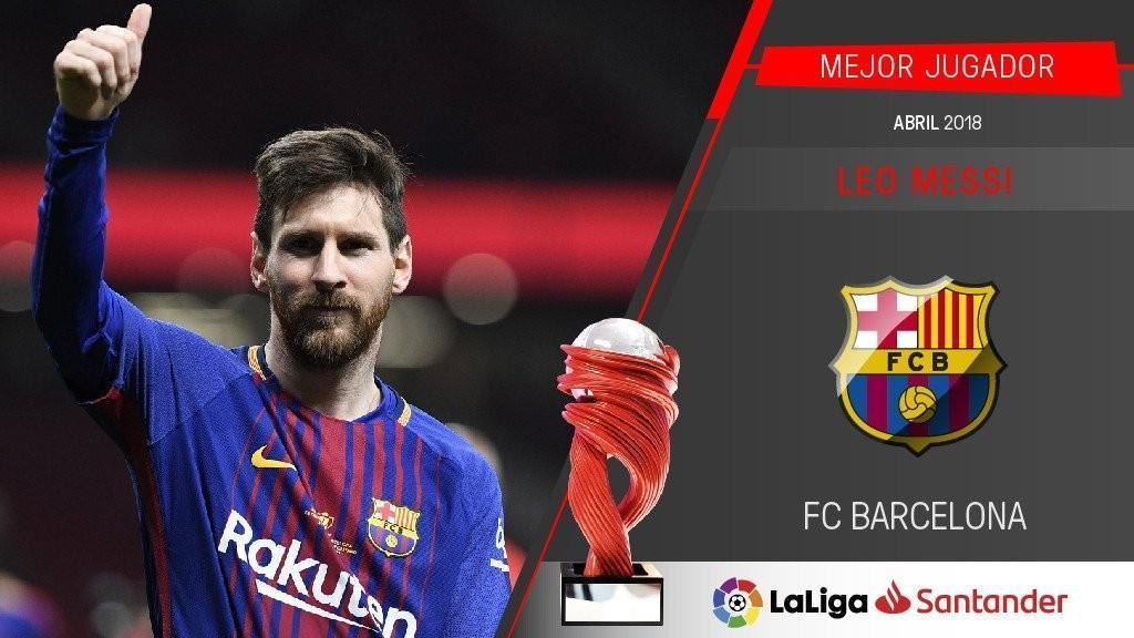 梅西获西甲4月最佳球员 双帽子戏法助巴萨夺冠