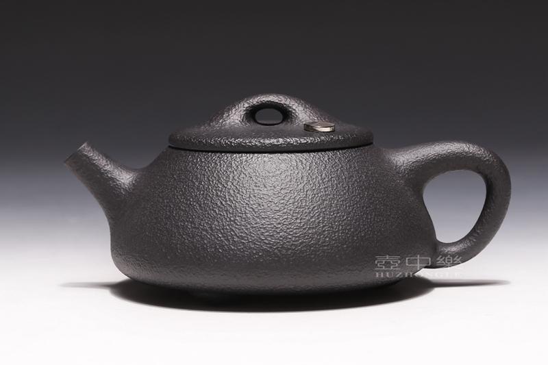 宜兴紫砂壶-姚华君紫砂壶-黑铁砂石瓢(高含铁紫砂)