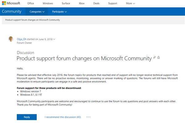 微软宣布停止支持官方论坛Win7分版:加速淘汰步伐的照片 - 2