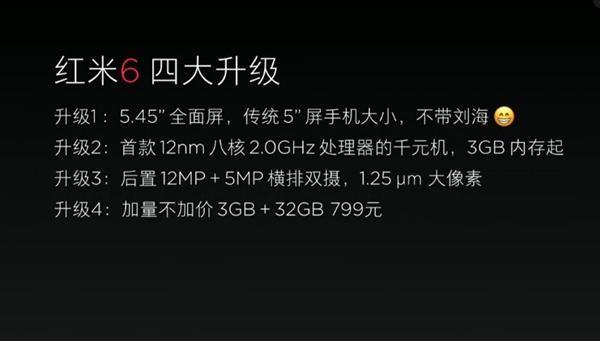 搭载联发科Helio P22 2GHz处理器 红米6发布 售价799元起的照片 - 5