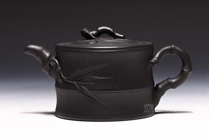 宜兴紫砂壶-鲍正兰紫砂壶-二节竹段-趣淘壶