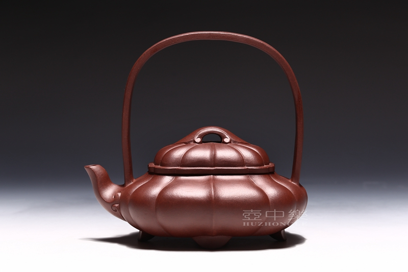 宜兴紫砂壶-王辉紫砂壶-菱花提梁-趣淘壶