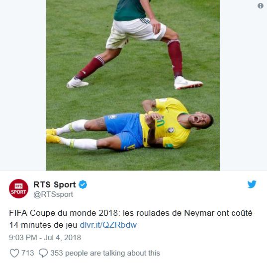 内马尔世界杯14分钟倒地翻滚遭网友吐槽:他需要婴儿学步椅的照片 - 1