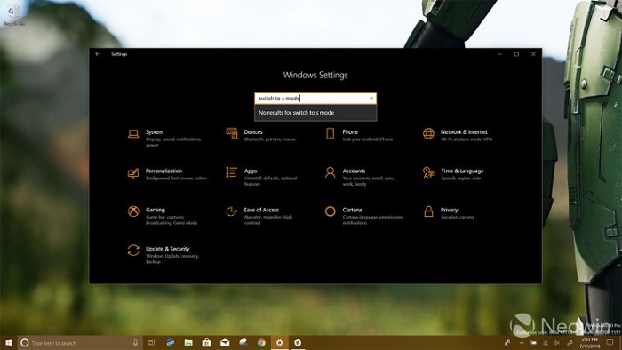 "Win10 build 17713已移除""S模式""切换选项的照片 - 1"