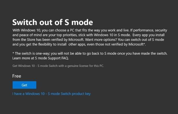 "Win10 build 17713已移除""S模式""切换选项的照片 - 2"