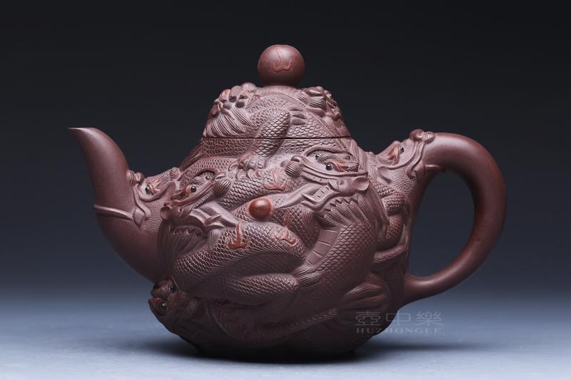 宜兴紫砂壶-葛岳纯紫砂壶-中九龙壶-趣淘壶