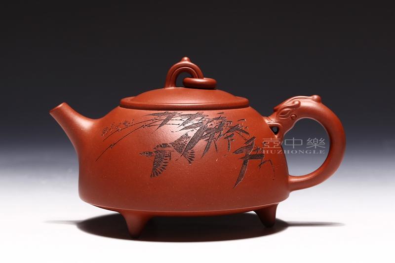宜兴紫砂壶-研高鲍正兰紫砂壶-环龙三足-趣淘壶