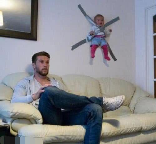 轻松一刻:搞笑图片合集之给老爸带孩子的后果