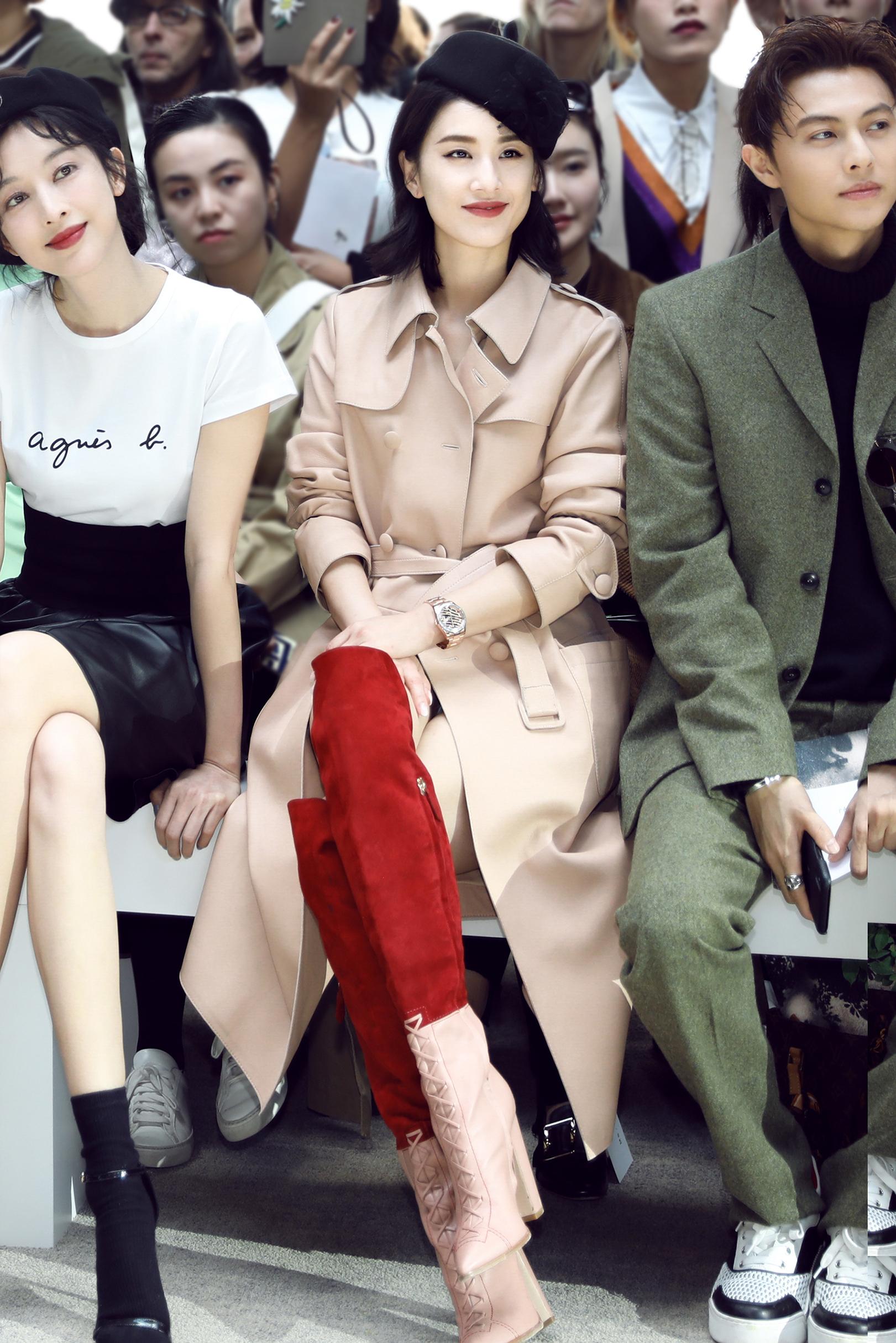 东方美人黄圣依巴黎时装周诠释西方经典穿搭