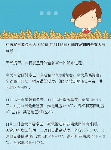 江苏气象发布:14日夜里开始全省有一次降水过程