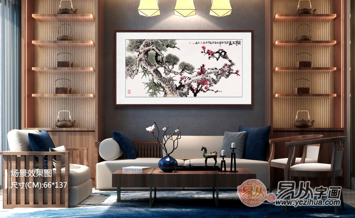 客厅悬挂什么字画,背景墙挂画就挂吉祥花鸟画
