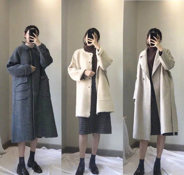 冬季女性大衣搭配,针织衫内搭保暖(图2)