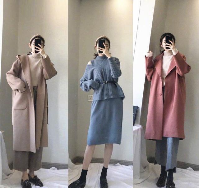 冬季女性大衣搭配,针织衫内搭保暖(图3)