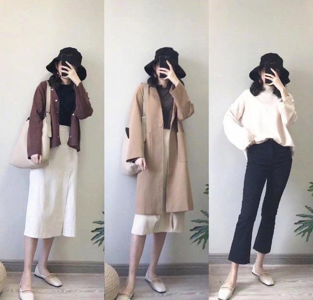 冬季女性大衣搭配,针织衫内搭保暖