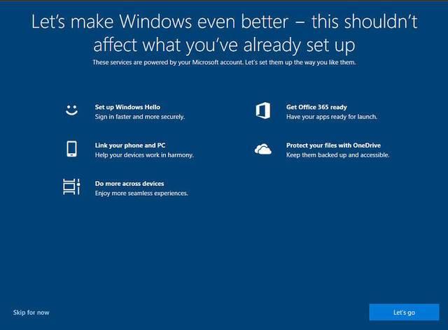 微软向新装Win10的PC用户推广五大功能的照片