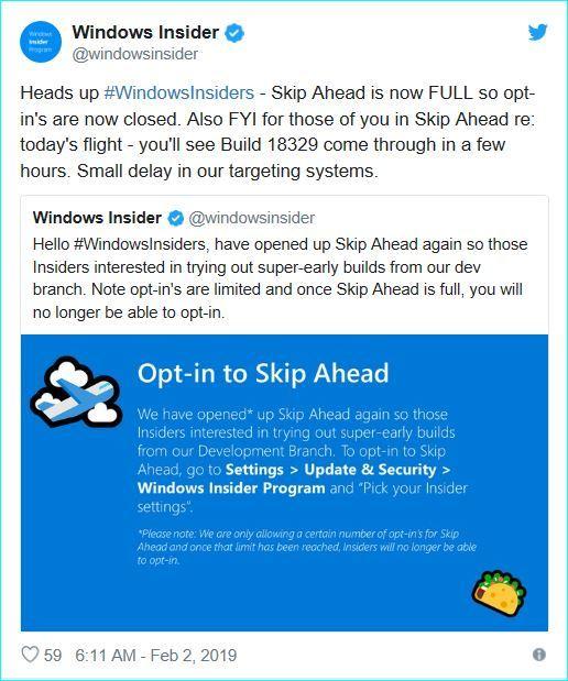 Win10 19H2提前测试Skip Ahead报名选项已关闭的照片 - 2