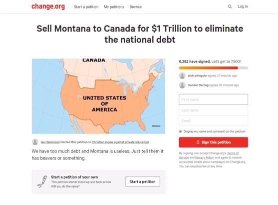 22万亿国债怎么还?约6300美国人请愿卖掉这个州的照片 - 2