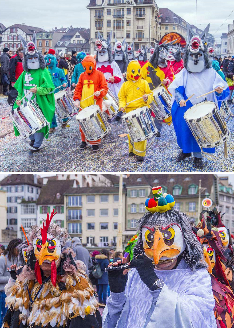 瑞士巴塞尔狂欢节20万人连续3昼夜狂欢走街串巷尽情享受
