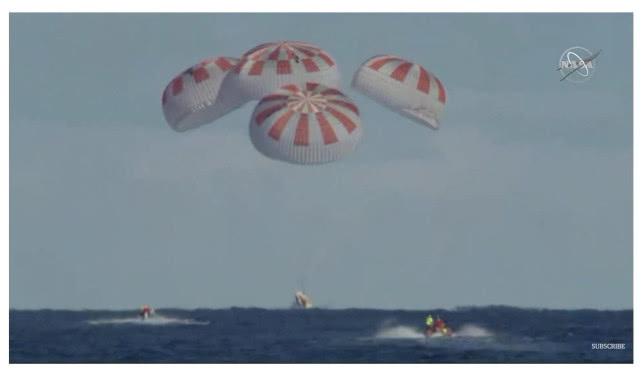 SpaceX载人版龙飞船成功返回地球