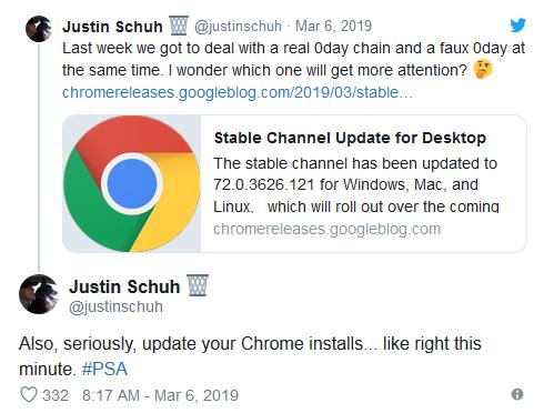 谷歌再次提醒用户应尽快升级Chrome到72.0.3626121的照片 - 2