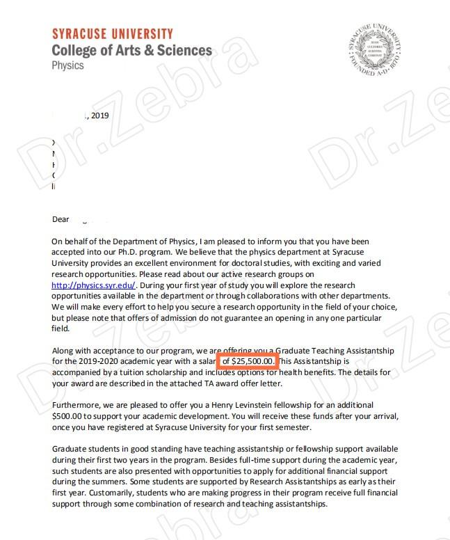 Syracuse University, Ph.D in Physics ,雪城大学,物理学博士,天体物理方向,25500美金奖学金/年