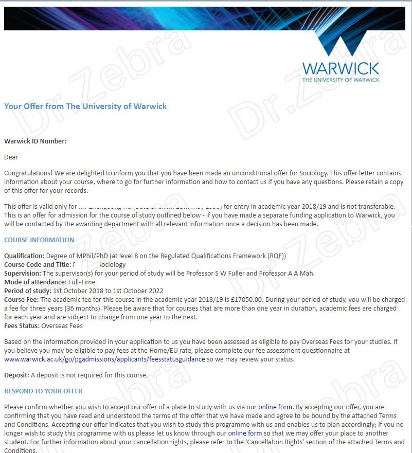 The University of Warwick, PhD in Sociology ,华威大学,G5,社会学博士