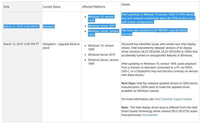 微软修复了Win10 1809中的一个网络服务bug 升级屏蔽已解除的照片 - 3
