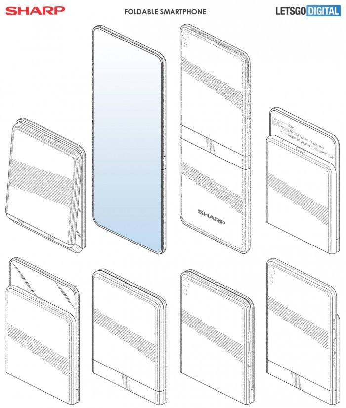 夏普可折叠手机专利曝光:两种折叠形态的照片 - 3