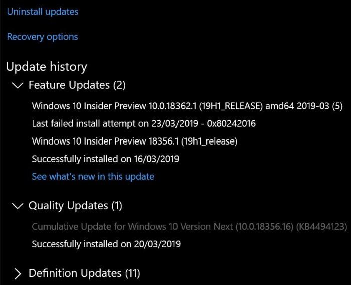 微软承认累积更新错误导致部分Slow用户无法升至Build 18362的照片 - 2