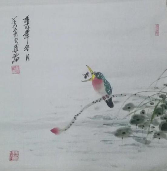 当代中国花鸟名家张乃成斗方作品赏析