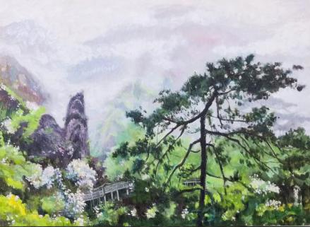 王石之油画展在井冈山革命博物馆举办