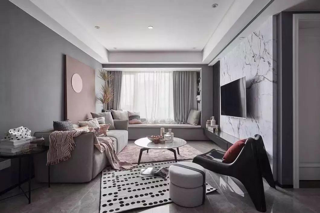 家居色彩装修:高级灰+烟粉,努力生活心向阳光!