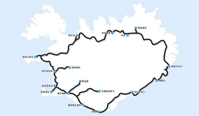 冰岛环岛行摄线路图