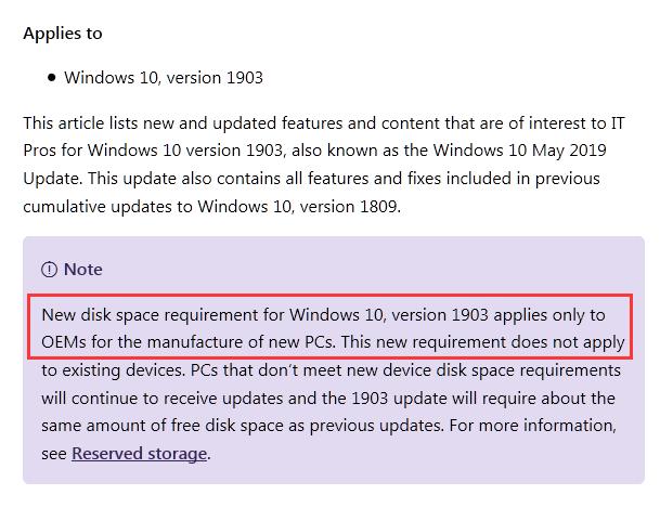 微软澄清:Win10 May 2019的新储存要求仅限新PC的照片 - 3
