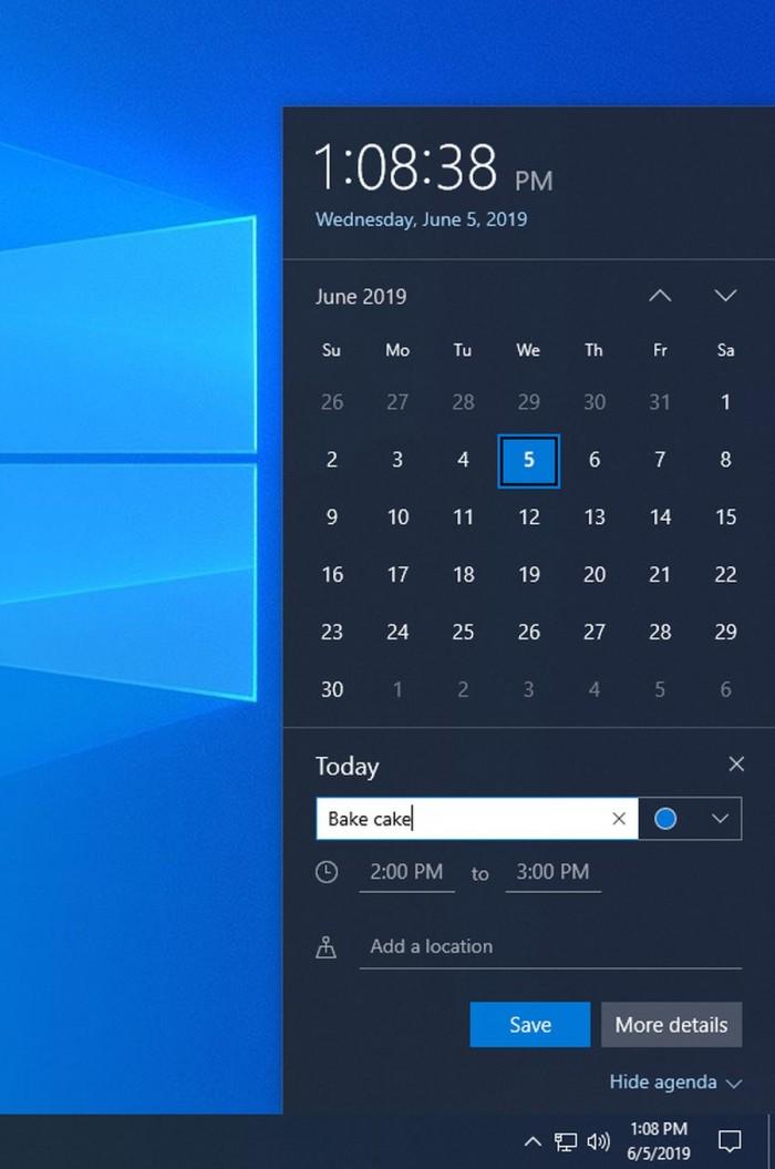 Win10 Build 18912发布:改善Narrator 调整日历/下载细节的照片 - 3